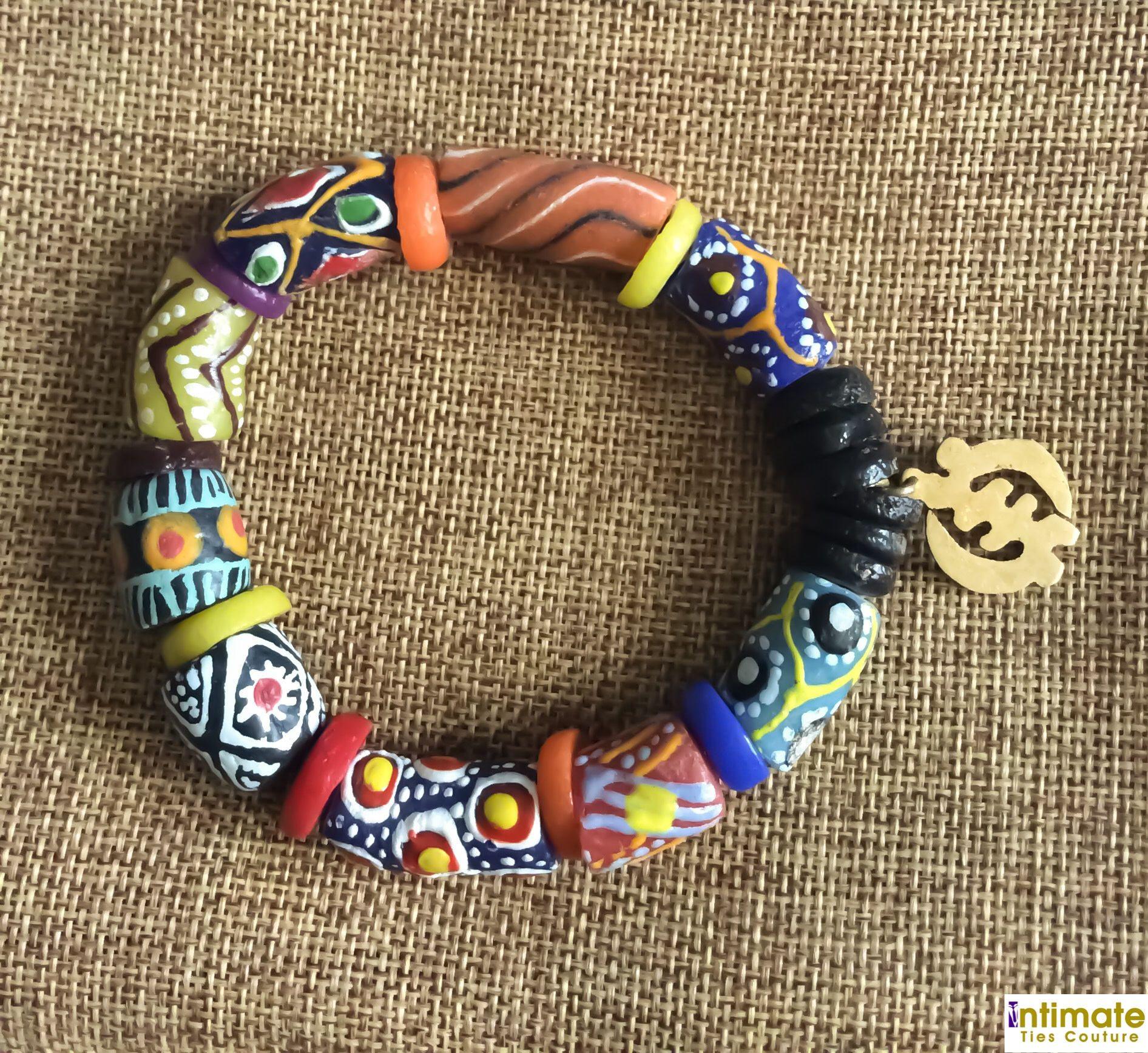 Mens African Bead Bracelet Gye Nyame Ara Jewellery Afroneckties Beaded Fair Trade Ghana Krobo Gl Beads Clothing On My Etsy