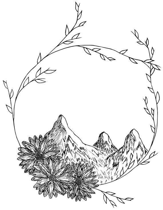 Line Drawing Etsy : Mountain wreath drawing drawings pinterest wreaths