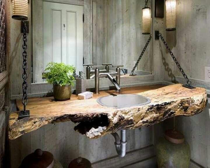 Hermoso lavamanos de madera rustica ba os pinterest - Banos industriales ...