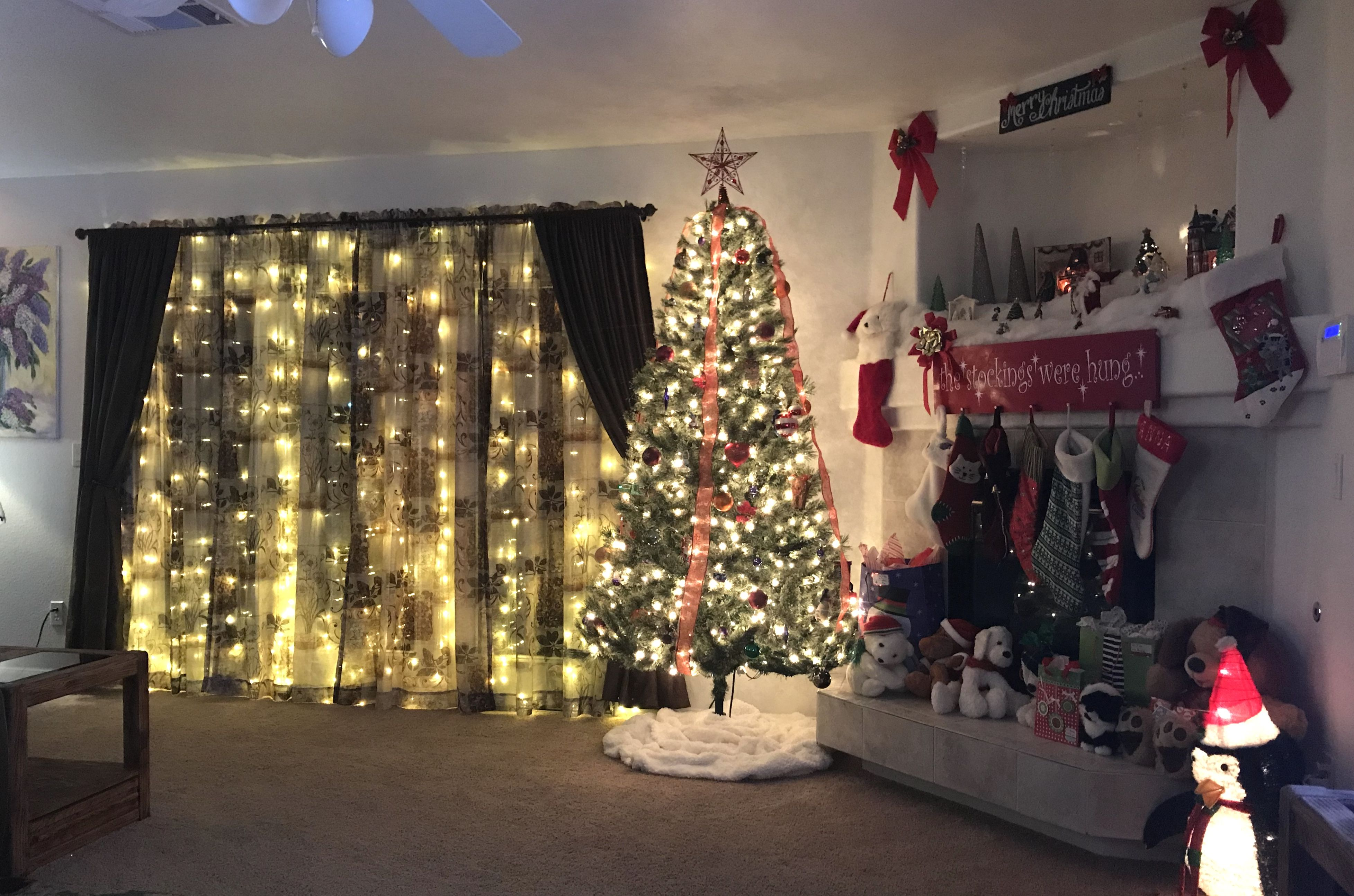 Living Room Christmas Decor Ideas Light Curtains Fireplace Mantel Christmas Tree Curtain Lights Christmas