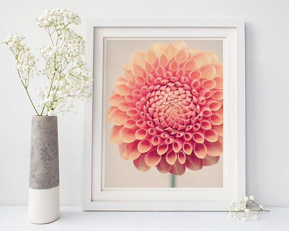 Dahlia Wall Art Print Floral Wall Decor Living Room | Art ...