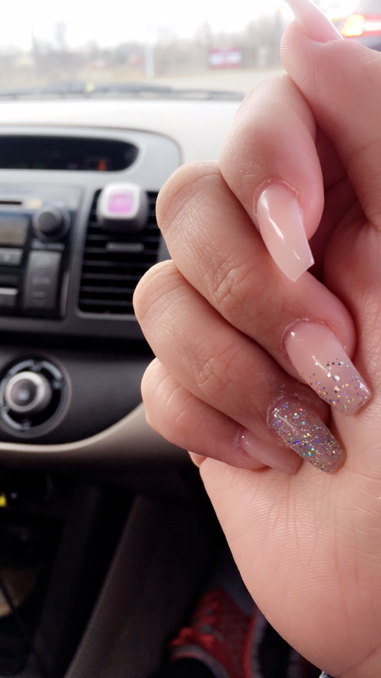 nude pink-glitter ombré-coffin shaped acrylic nails. | nails ...