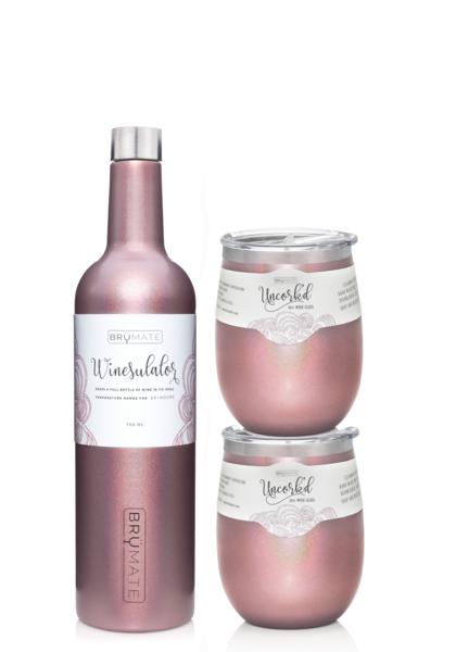1346294af8c Winesulator + 2 Uncork'd XL Wine Glasses/Lid | GLITTER ROSE GOLD Glitter
