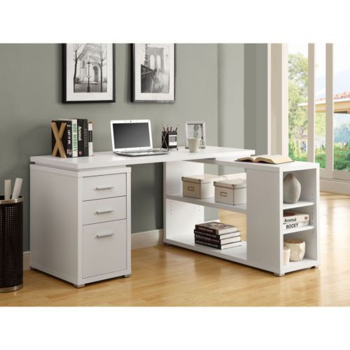 White Hollow Core Left Or Right Facing Corner Desk Office Kids Room Laptop Ipad