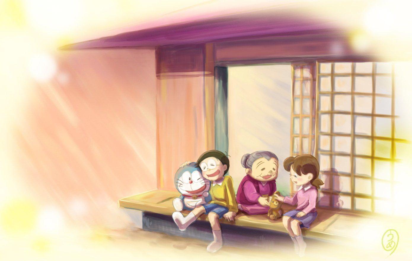 HD wallpaper: Anime, Doraemon, childhood, women, sitting, offspring, girls