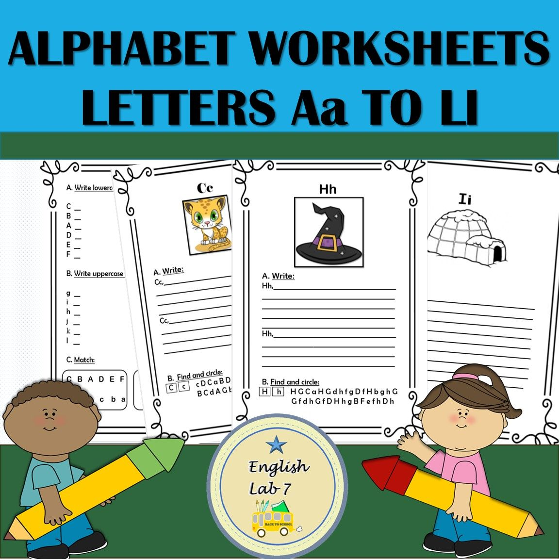 Alphabet Letters A To L Writing Practice Worksheets
