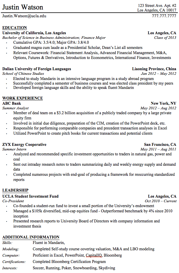 Professional Resume Templates For College Graduates | rits