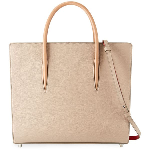 Christian Louboutin Paloma Large Triple-Gusset Tote Bag (€2.350) ❤ liked on Polyvore featuring bags, handbags, tote bags, beige, beige tote, patent leather handbags, tote handbags, christian louboutin purse and beige purse