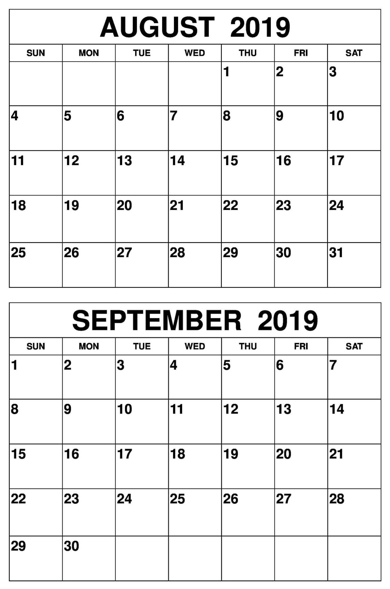 August September 2019 Calendar Printable Template Calendar