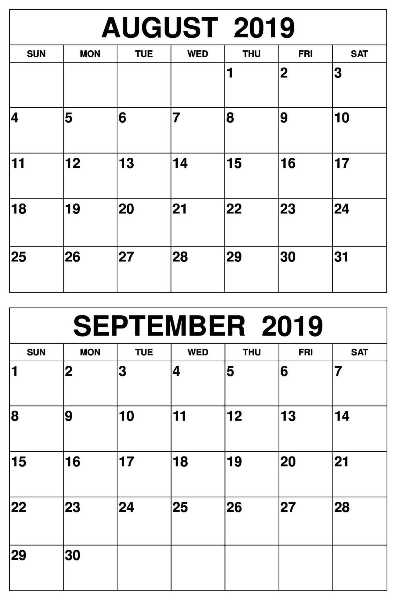 August September 2019 Calendar Printable Template Calendar