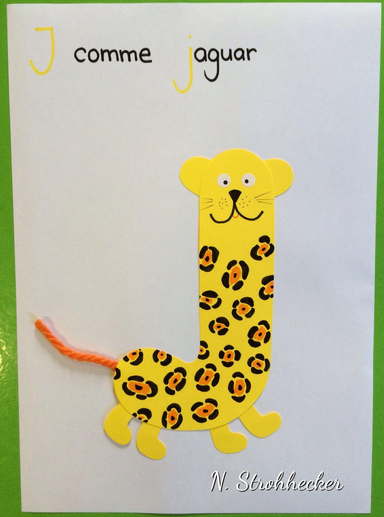 j comme jaguar bricolage lettre alphabet pinterest ab c daire lettres et alphabet. Black Bedroom Furniture Sets. Home Design Ideas