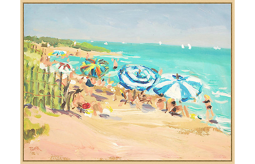 Depicting a sunny day on a beach, this giclée reproduction is ...