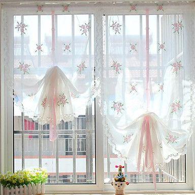 Cortinas de cocina visillos florales con lazo cortinas for Visillos para cortinas