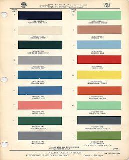 1956 Ford Thunderbird paint palette  Check that lower green  Lovely