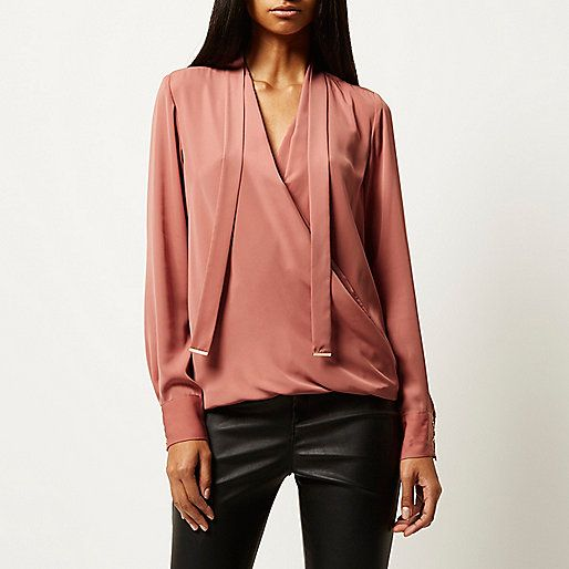 Dark pink long sleeve pussybow wrap blouse