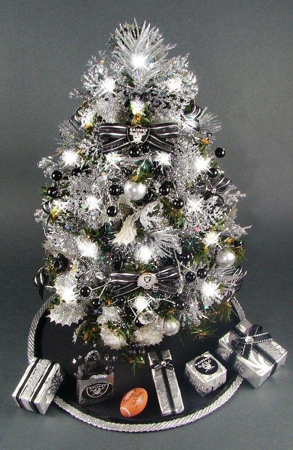 Oakland Raiders Christmas Ornaments.Tabletop Mini Christmas Tree Oakland Raiders Black