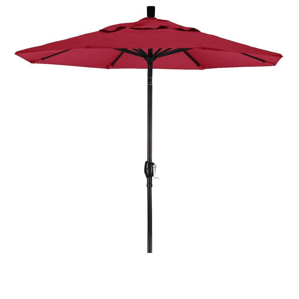 7 1/2 Foot Sunbrella Fabric Aluminum Crank Lift Push Tilt Patio Umbrella  With Black