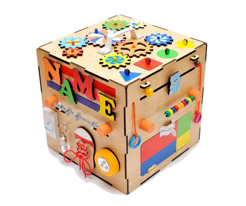 Personalized busy cube Wooden activity cube Montessori ...
