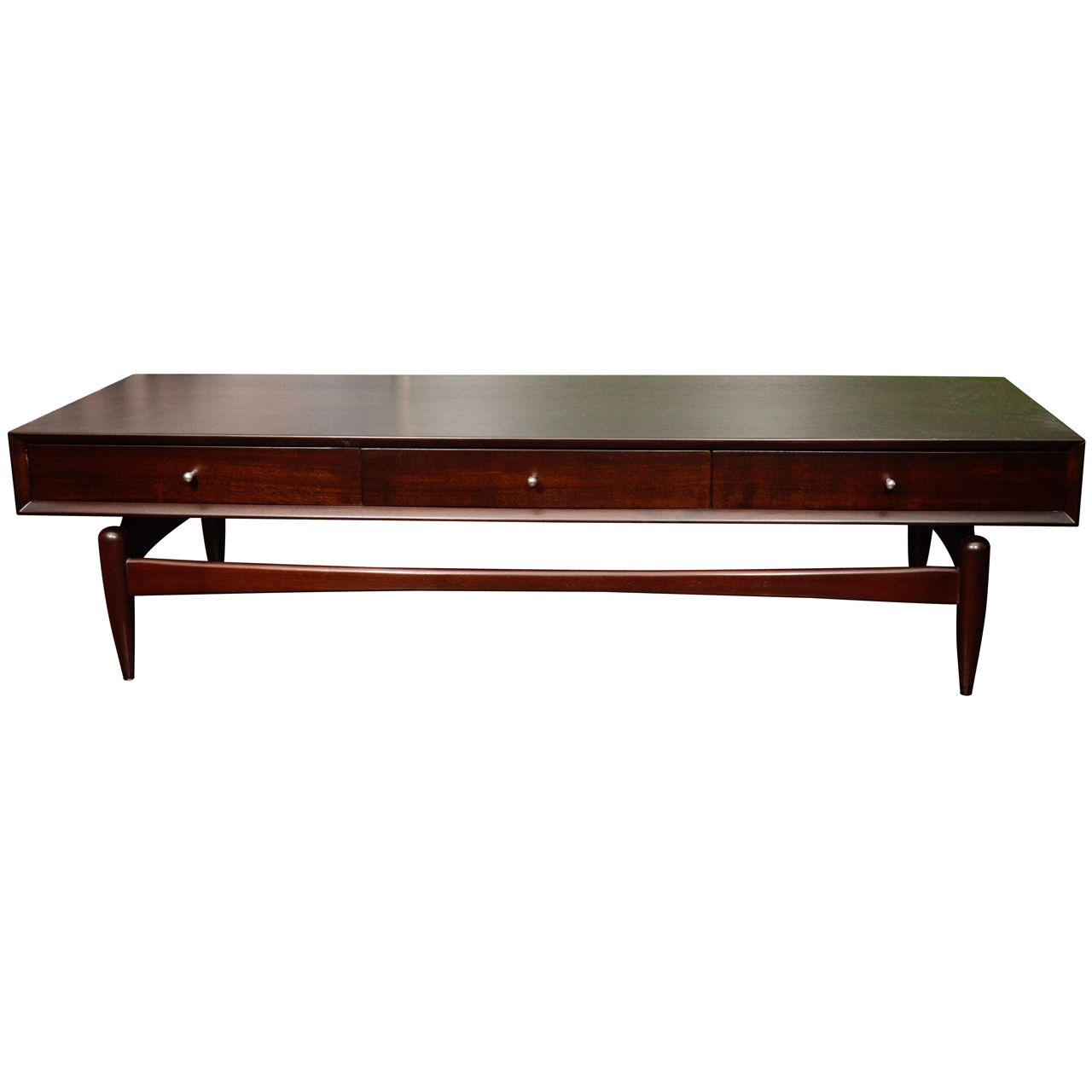 Dark walnut coffee table with drawers and chrome pulls