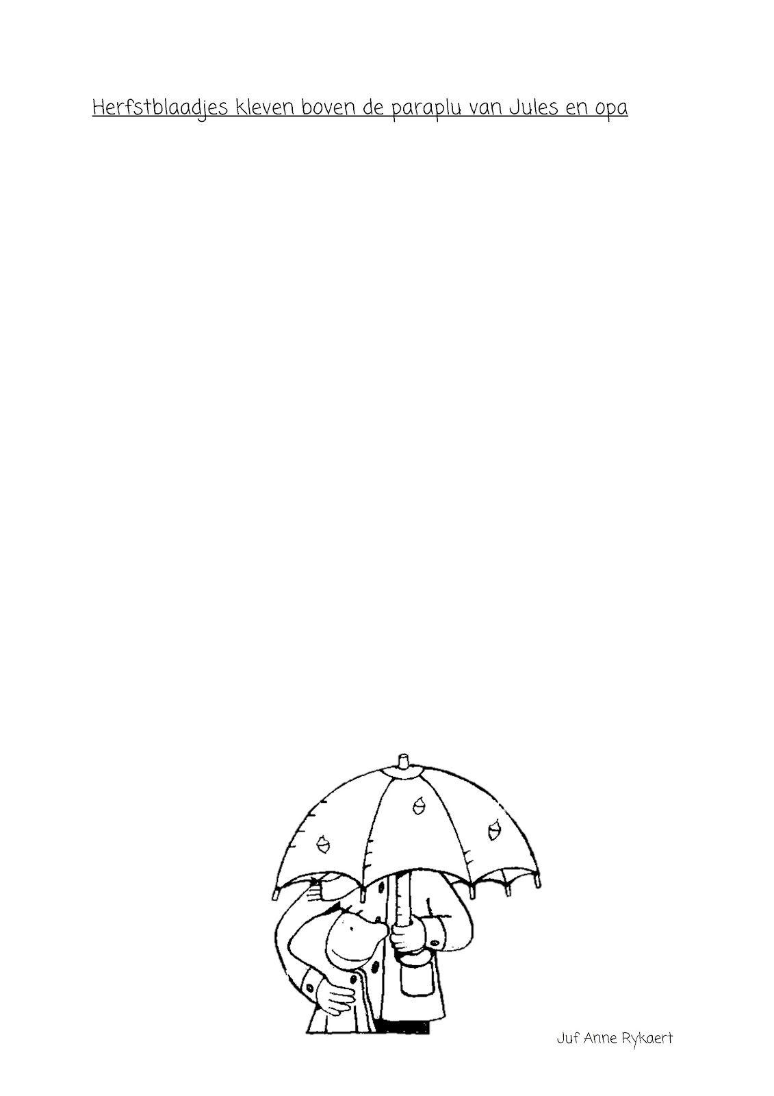 Herfstblaadjes kleven boven de paraplu van Jules en opa | Herfst ...