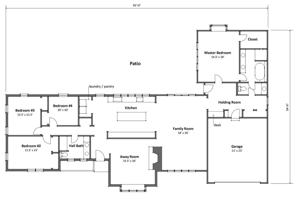 Ranch style house plan 4 beds 2 baths 3200 sq ft plan for 7 bedroom ranch house plans