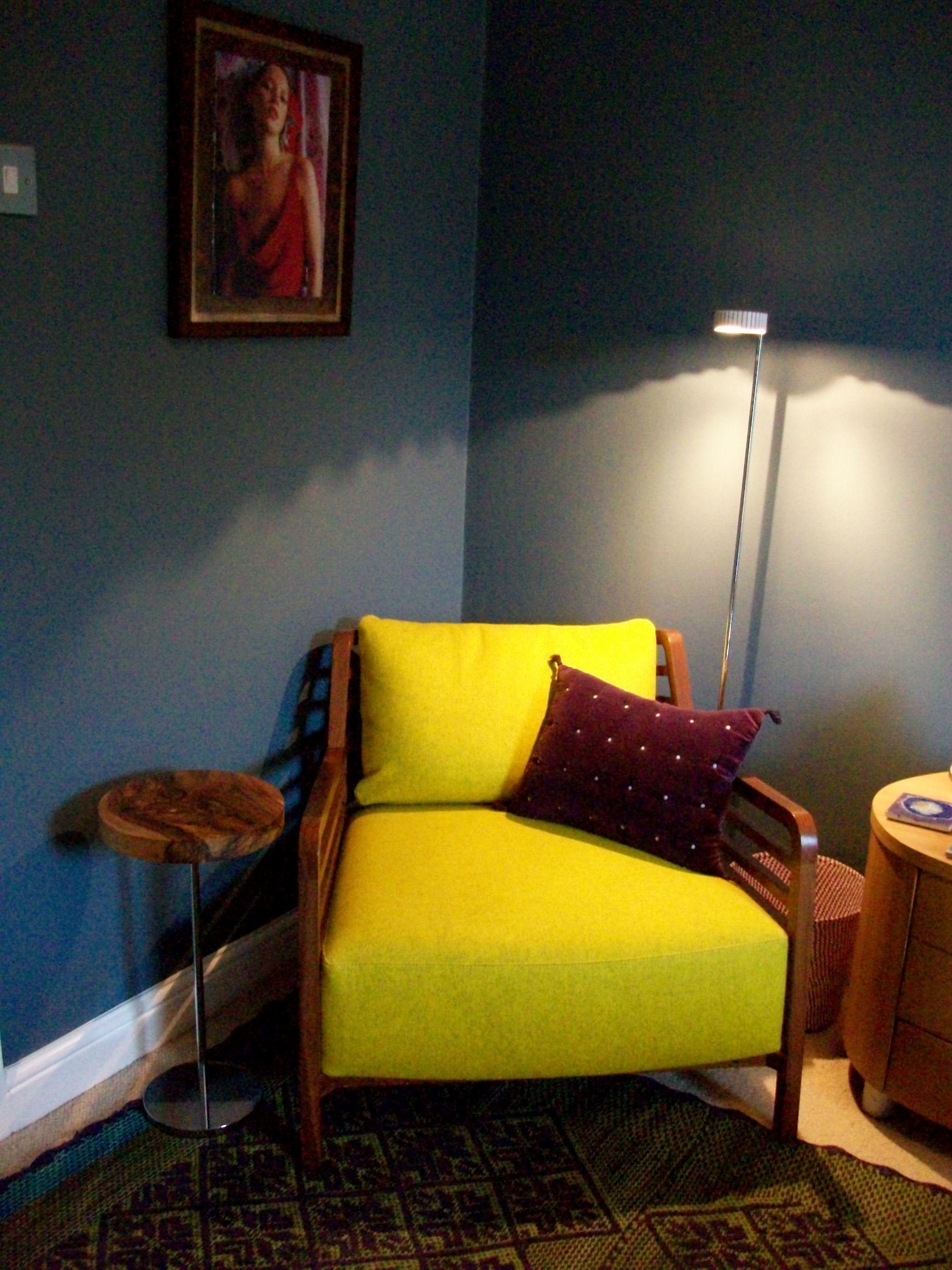 ligne roset flax chair anthropologie rug purple cushion blue
