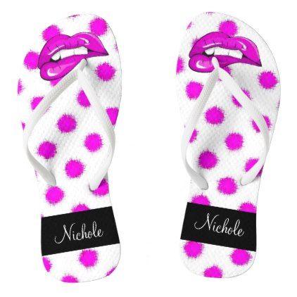 2fff7abf7  Pop Art Hot Pink Lips with Polka Dots Monogram Flip Flops -  womens  shoes   womensshoes  custom  cool