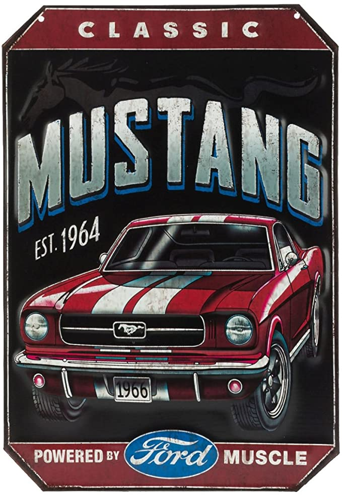 Open Road Brands Ford Classic Mustang Est. 1964 Vintage Embossed Metal Wall Art Sign – an Officially Licensed Product Great Addition to Add What You Love to Your Home/Garage Decor