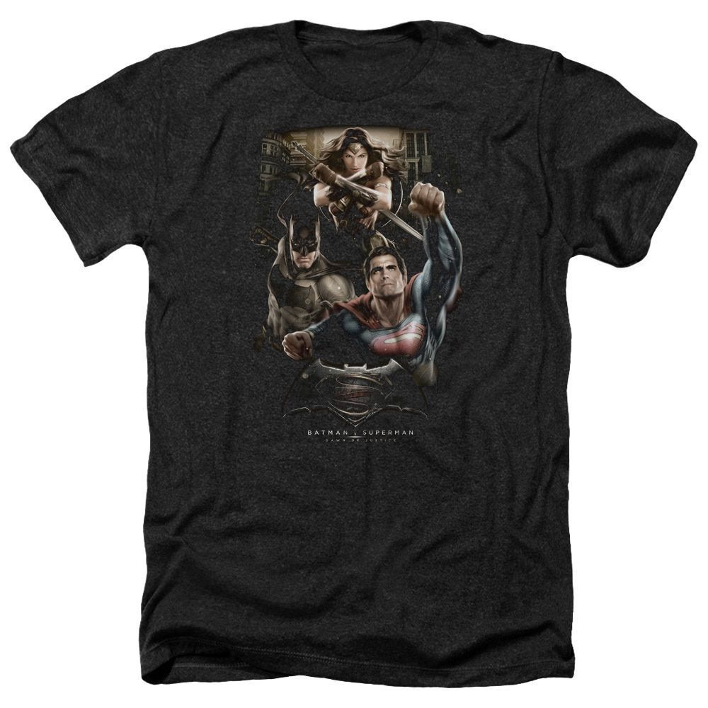 Batman V Superman/Three in Action Adult Heather T-Shirt in