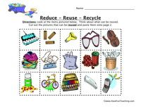Reduce Reuse Recycle Worksheet Earth Day Worksheets