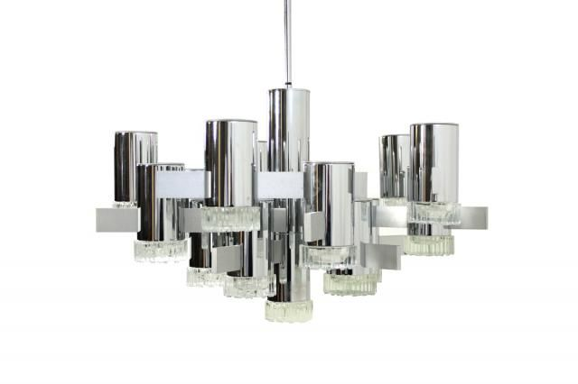 Chrome Chandelier By Gaetano Sciolari, 1960s For Sale At Pamono