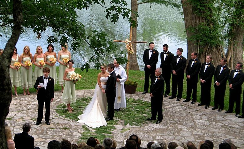 A Beautiful Ceremony Overlooking The Guadalupe River At Camp Waldemar In Hunt Tx