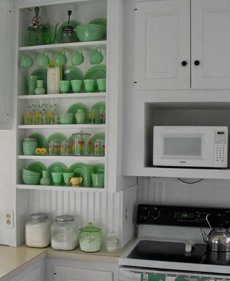 Jadeite Glassware Kitchen Shelves Retro Vintage