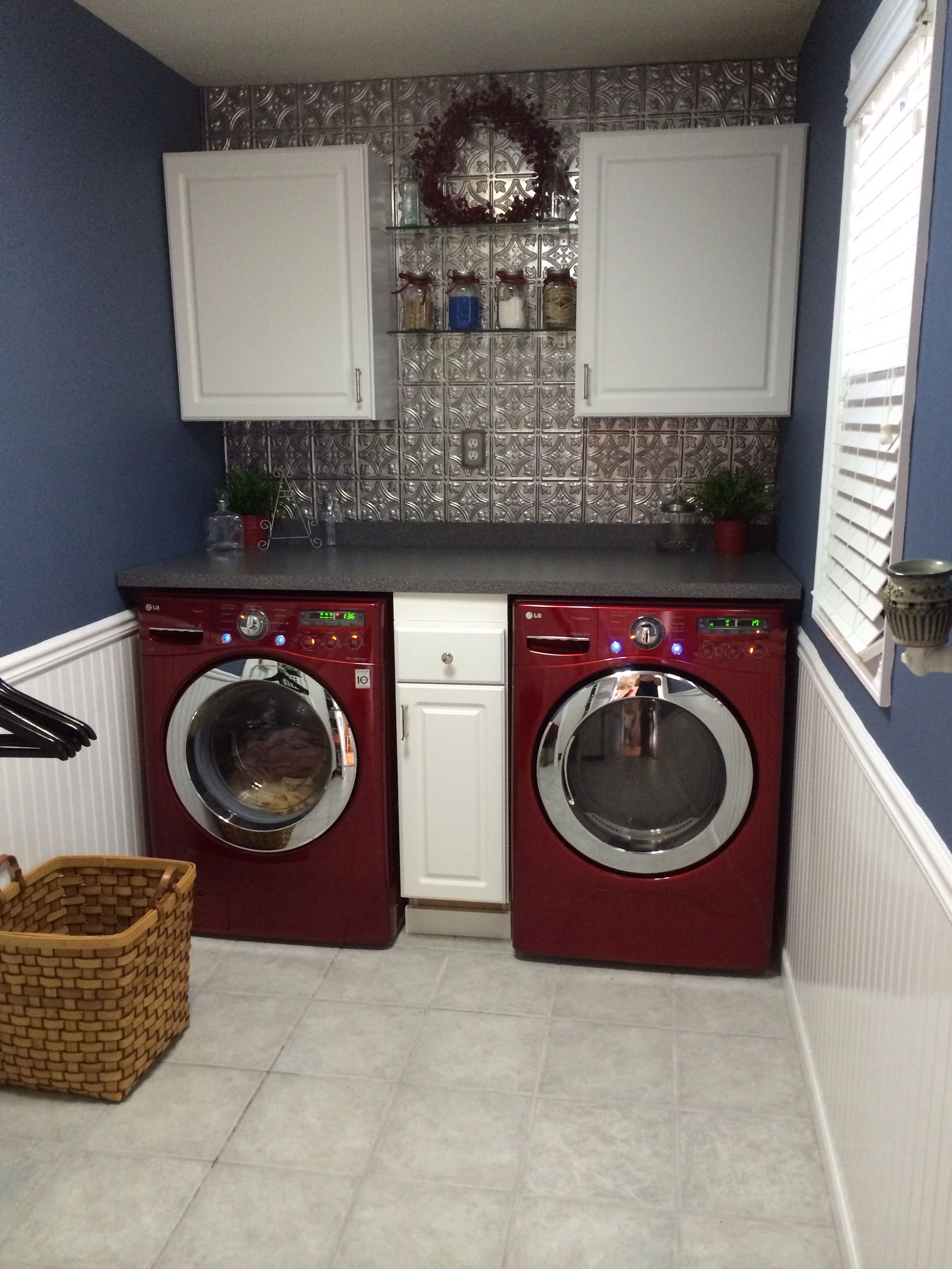 Laundry Room Is Finally Complete Tin Backsplash Formica Counters And Cherry Red Lg Washer Dryer