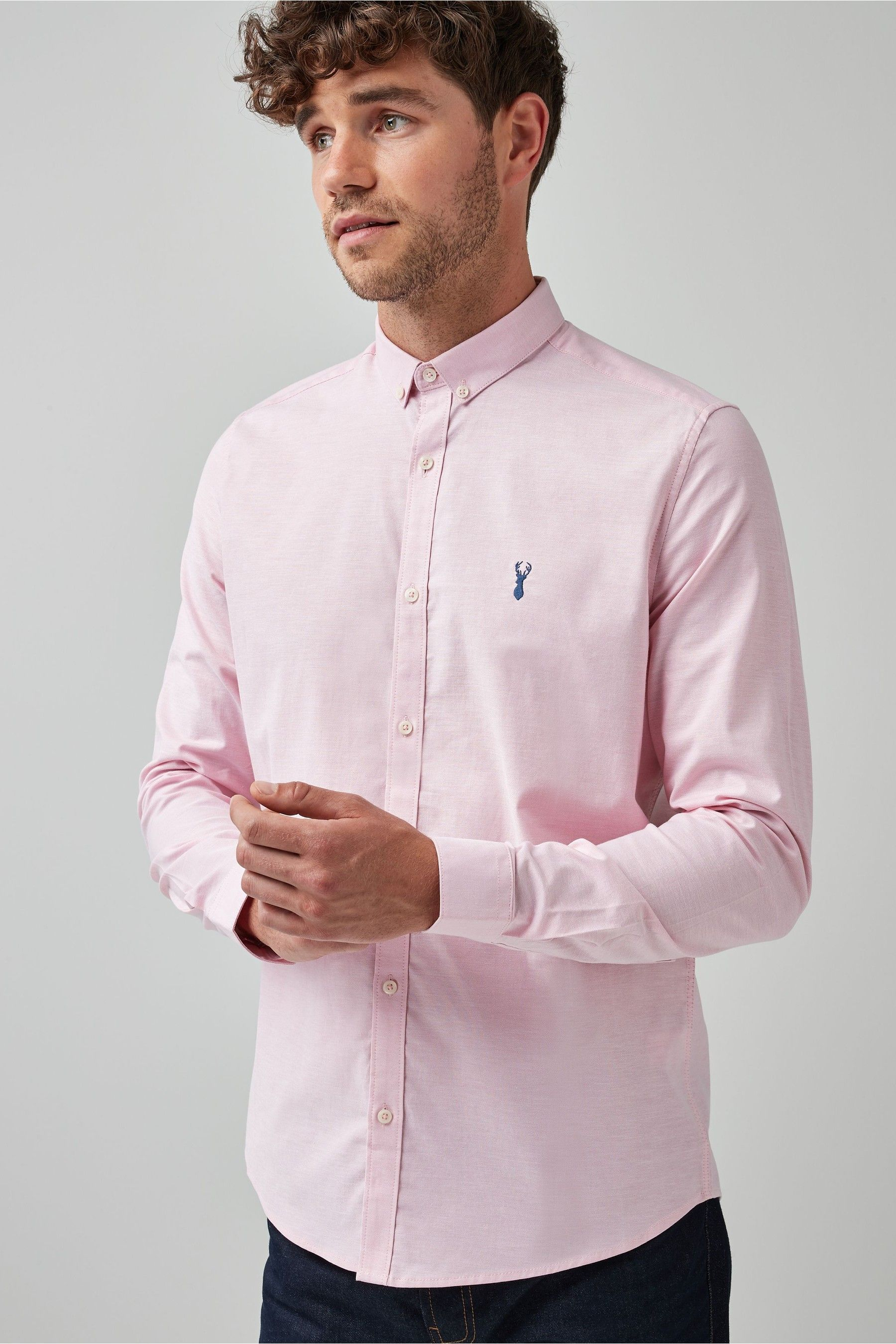 Mens Next Pink Slim Fit Long Sleeve