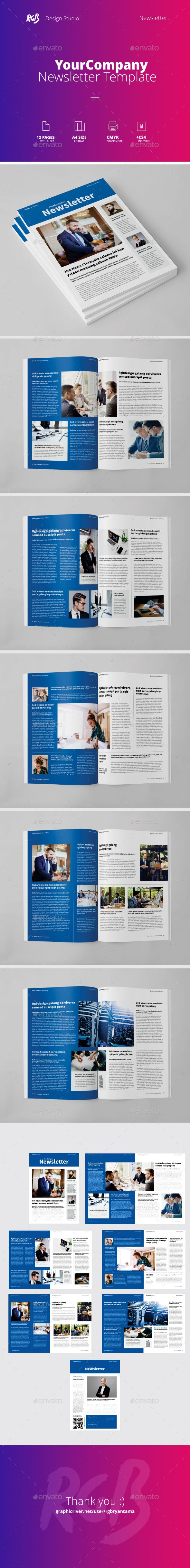 Multipurpose Newsletter Template Indesign Indd 12 Unique Pages
