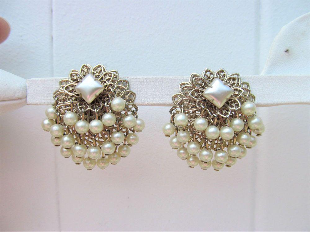 Vintage Filigree White Faux Pearl