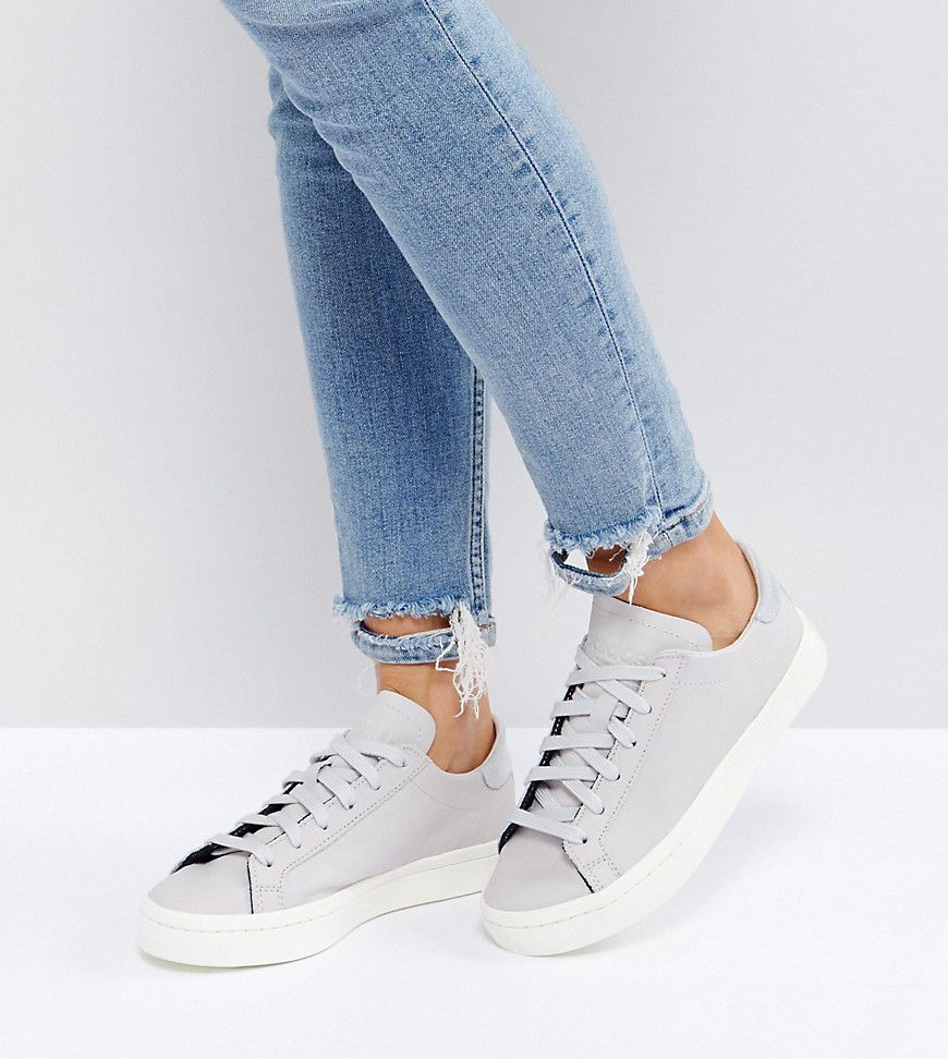 Adidas Originals Court Vantage Sneakers In Pale Gray Gray Sneakers Sneakers Fashion Shoes