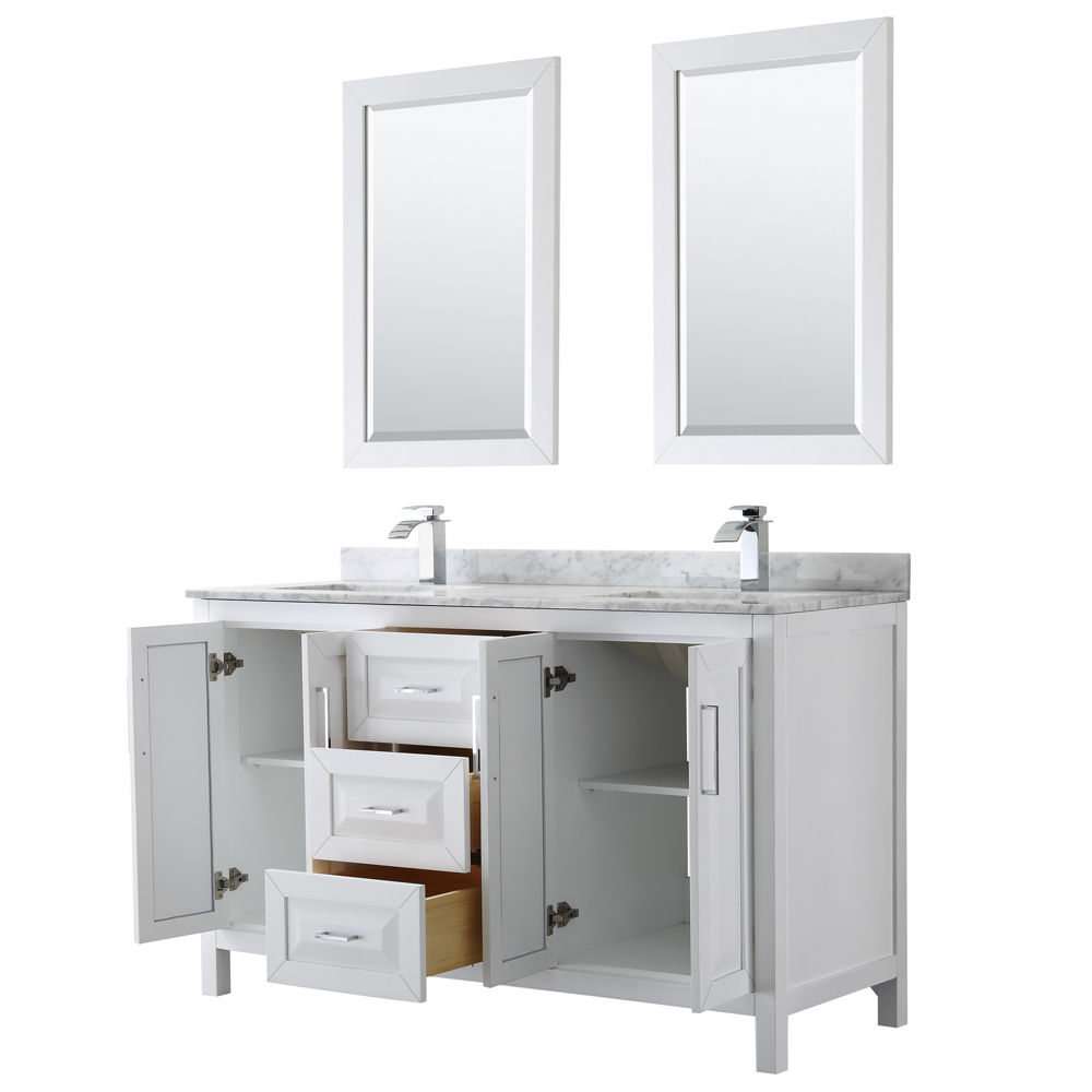 Daria 60 Double Bathroom Vanity By Wyndham Collection White