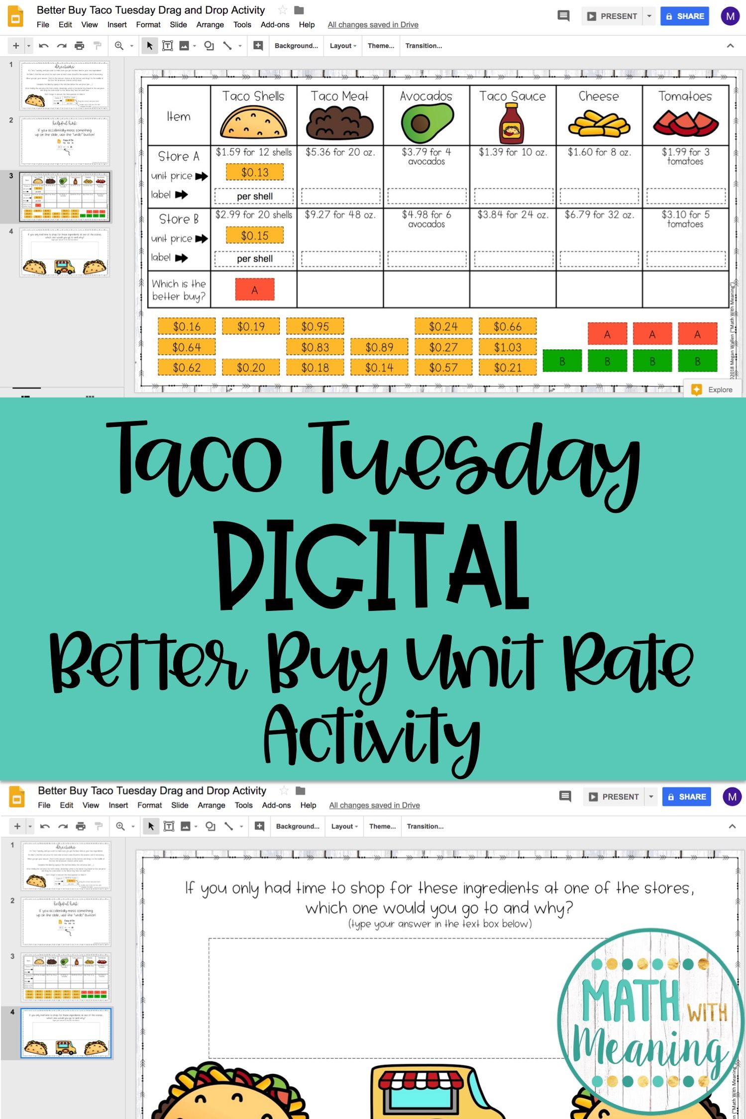 Students Will Practice Finding The Better Buy With This Fun Taco Tuesday Themed Digital Activi Math Lessons Middle School Google Classroom Activities Unit Rate