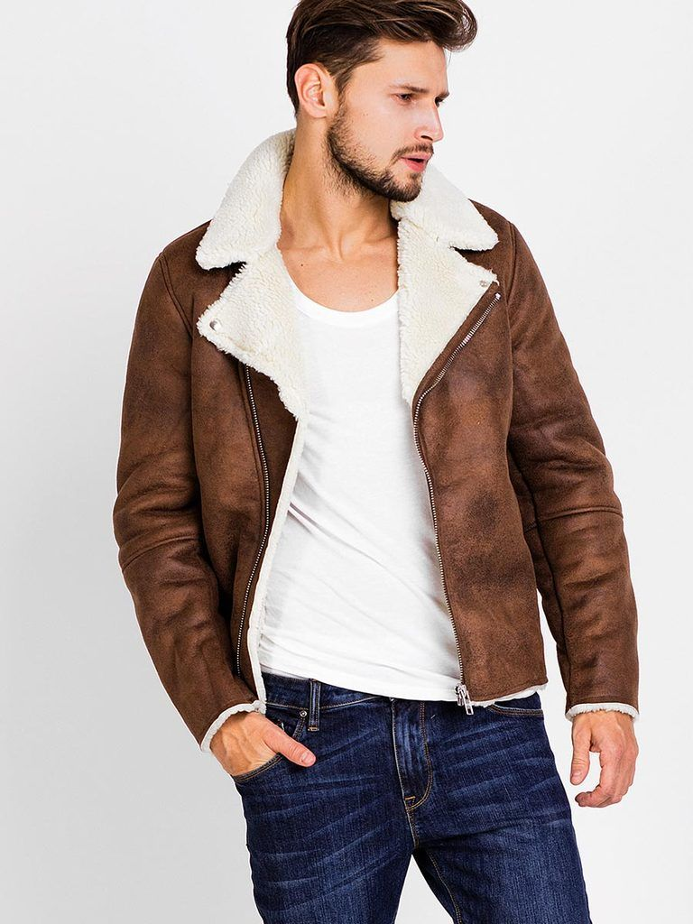 63034d6f7c02e kahverengi kış deri ceket erkek havacı sıcak giyim motosiklet kaliteli mens  faux kürk kat giyim M L XL 2xl(China (Mainland)) | erkek giyim in 2019 |  Kürk ...