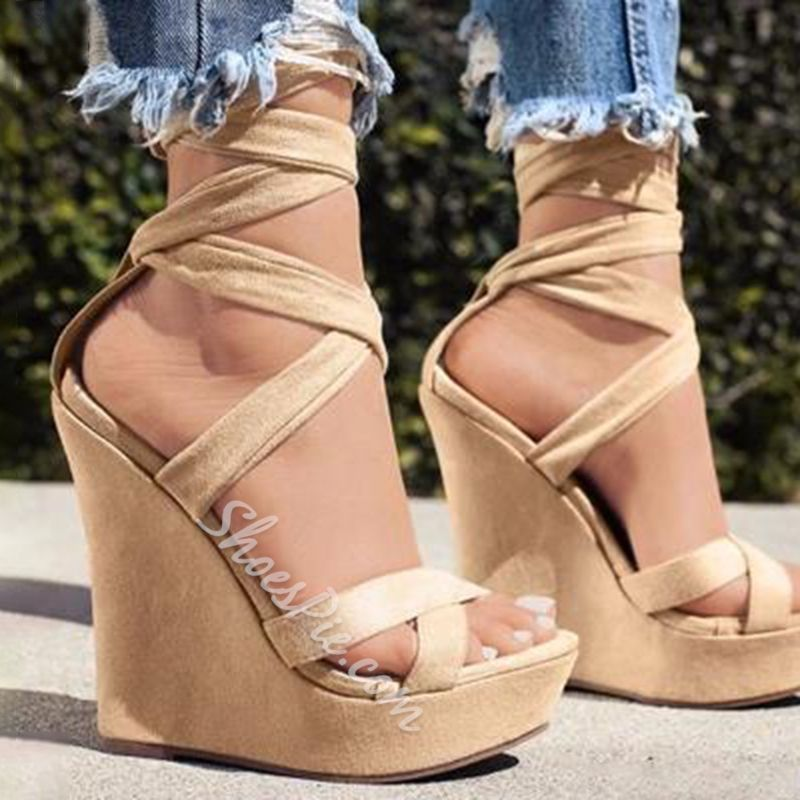 tie up wedge shoes