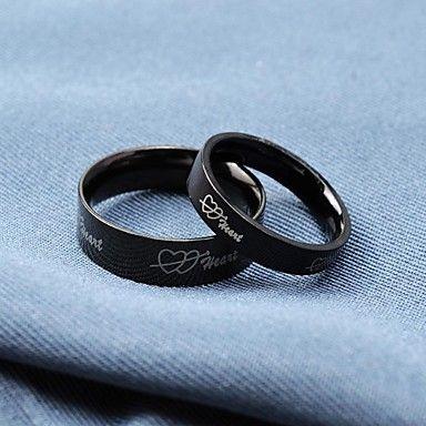 Anéis Couple Preto amor do coração de titânio de aço Populares de 2016 por €14.69