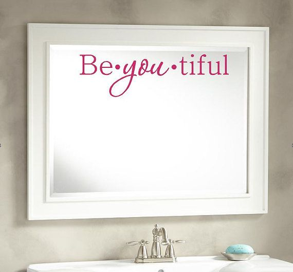 Beyoutiful Vinyl Wall Decal, Mirror Decal, Salon Decor
