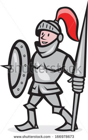 Illustration of knight in full armor with lance and shield facing front standing on isolated white background done in cartoon style. - stock vector #knight #cartoon #illustration