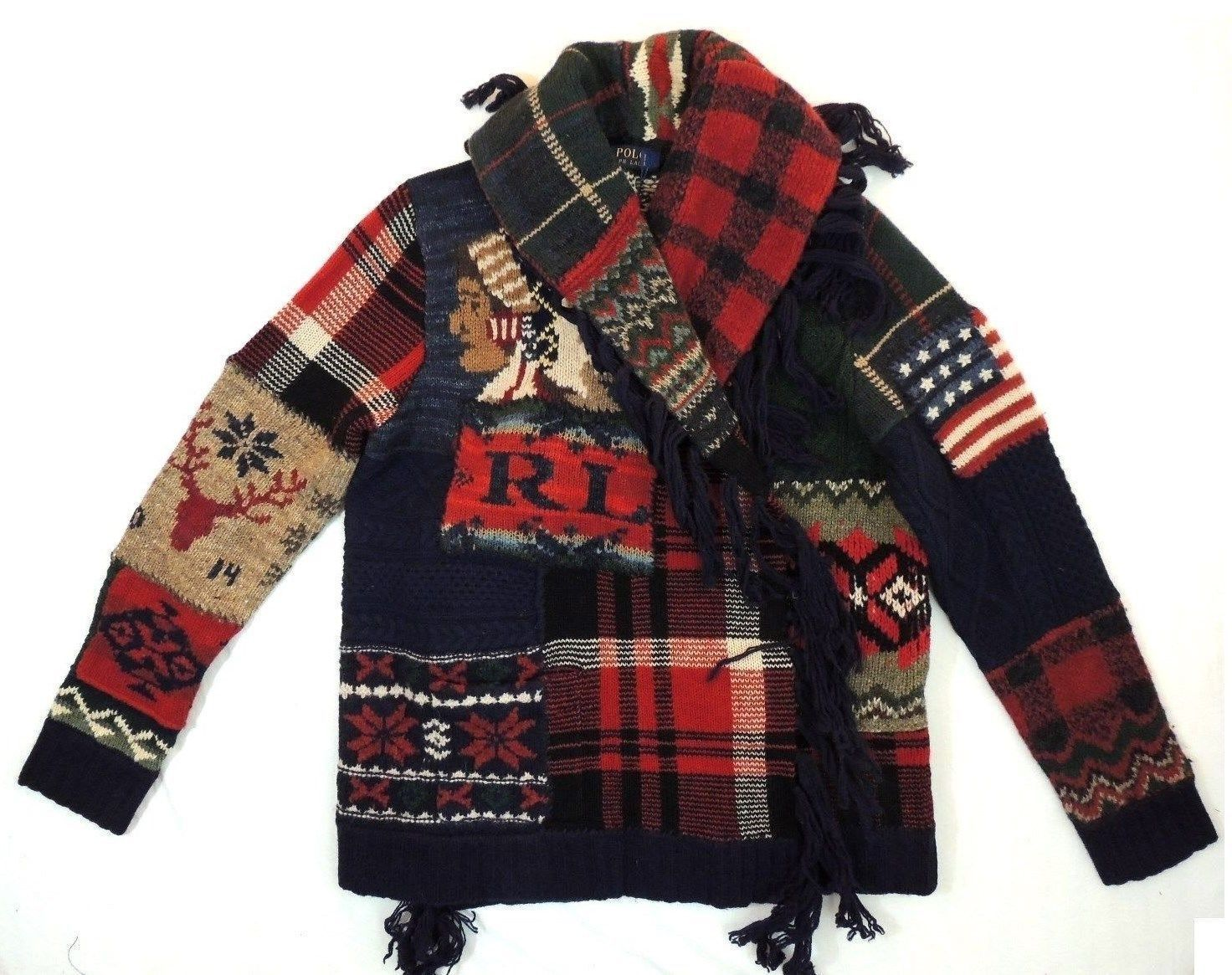 Polo Ralph Lauren Indian Head Chief Flag Patchwork Sweater Cardigan Jacket  XS S   eBay 07406a317f