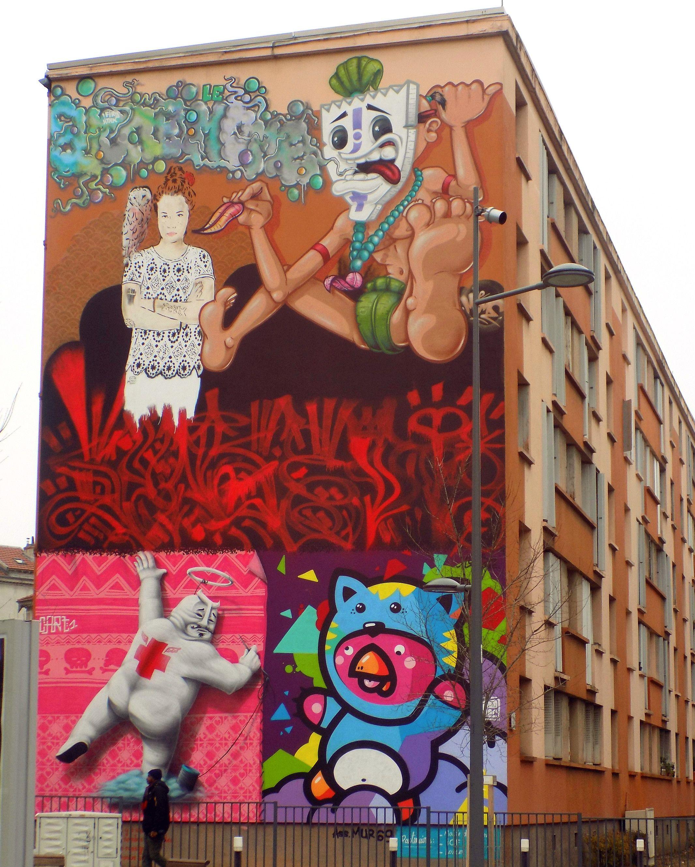 peinture murale fresque art de rue lyon mes voyages pinterest art de rue peintures. Black Bedroom Furniture Sets. Home Design Ideas