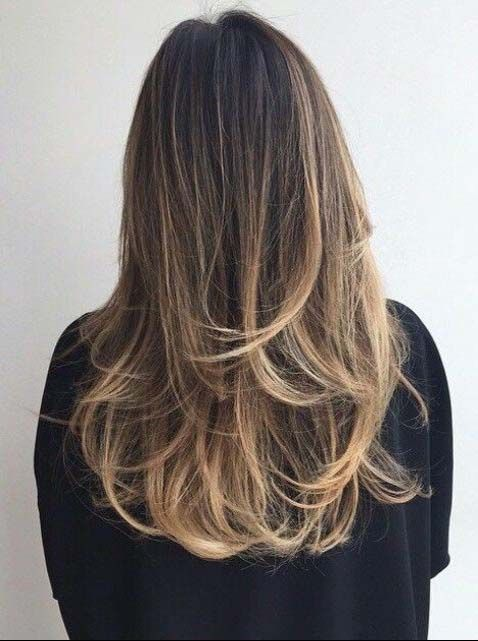 Perfect bayalage brunette blonde long hair