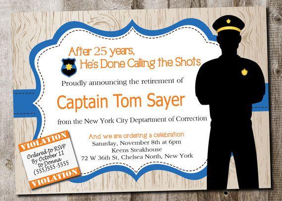 Custom Police Retirement Invitation printable card digital - retirement party flyer template