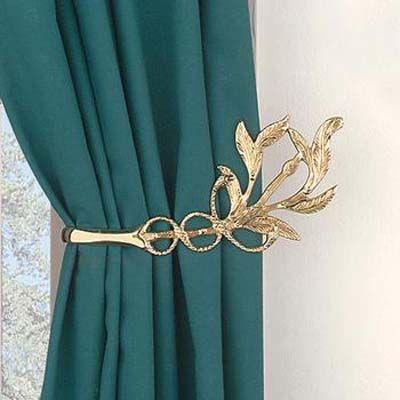 gold leaf curtain holdback google